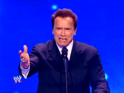 10492 - Arnold_Schwarzenegger WWE_Hall_Of_Fame_Induction_Ceremony celebrity microphone suit wwe